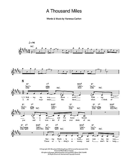 A THOUSAND MILES Chords - Vanessa Carlton | E-Chords