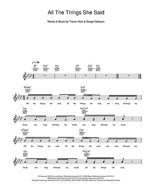 Tatu All The Things She Said Sheet Music Notes Chords