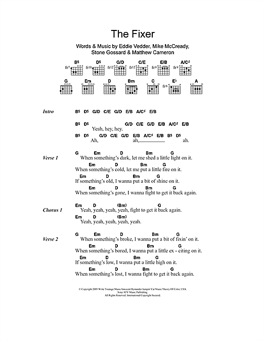 Pearl Jam The Fixer Sheet Music Notes Chords Printable Rock