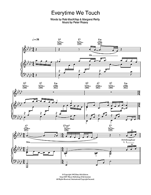 Cascada Everytime We Touch Sheet Music Notes Chords Printable