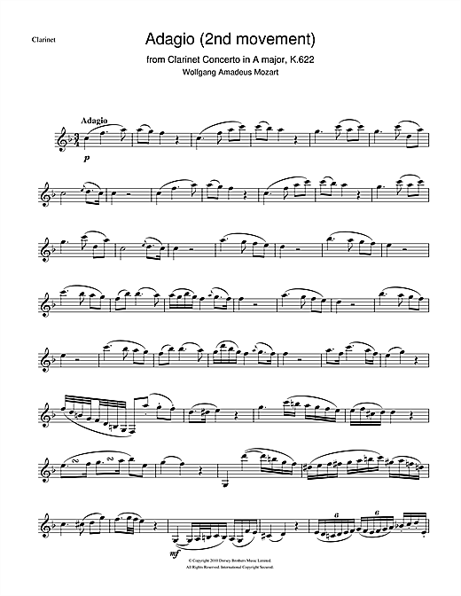 Wolfgang Amadeus Mozart Slow Movement Theme From Clarinet Concerto K622 Sheet Music Notes Chords Download Printable Clarinet Sku 104446