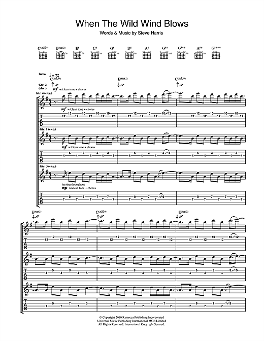 Iron Maiden When The Wild Wind Blows Sheet Music Notes Chords