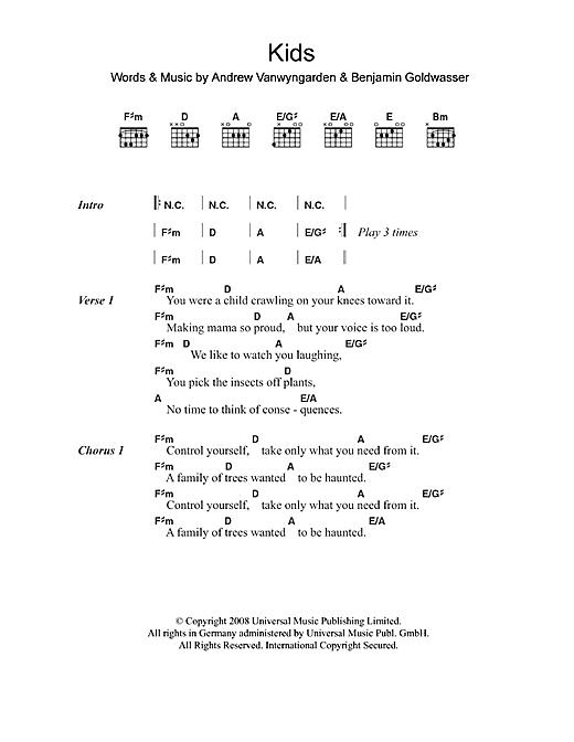 Mgmt Kids Sheet Music Notes Chords Printable Rock Lyrics