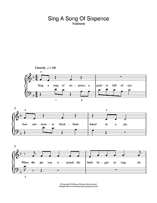 Traditional Nursery Rhyme Sing A Song Of Sixpence Sheet Music