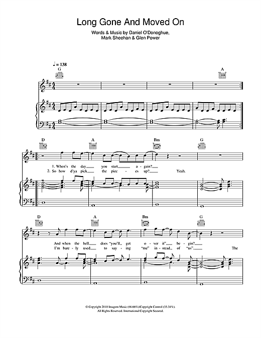 The Script Long Gone And Moved On Sheet Music Notes Chords