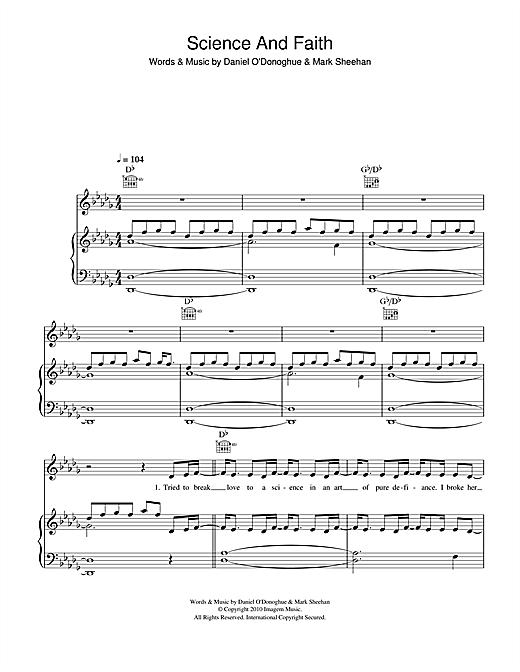 The Script Science Faith Sheet Music Notes Chords Printable