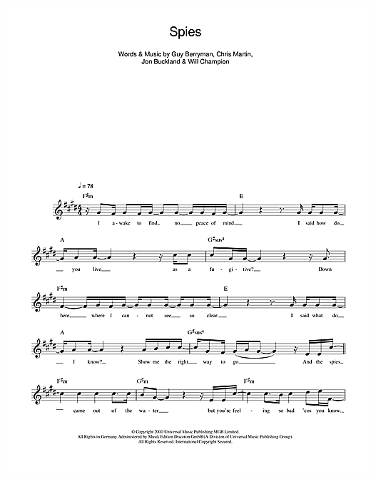 Coldplay Spies Sheet Music Notes Chords Printable Rock Melody