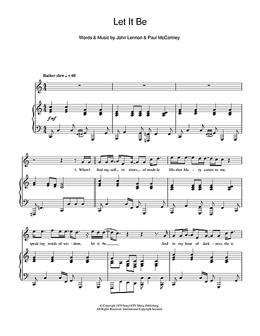 The Beatles Let It Be Sheet Music Notes Chords Printable Rock