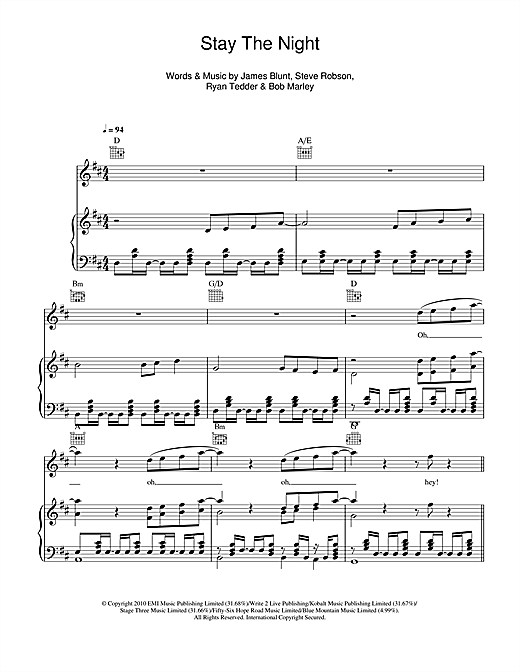 James Blunt Stay The Night Sheet Music Notes Chords Printable