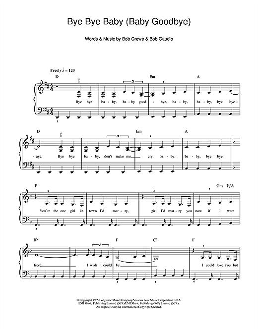 The Four Seasons Bye Bye Baby Baby Goodbye Sheet Music Notes Chords Download Printable Beginner Piano Sku 105768