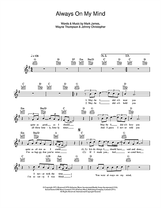 Elvis Presley Always On My Mind Sheet Music Notes Chords