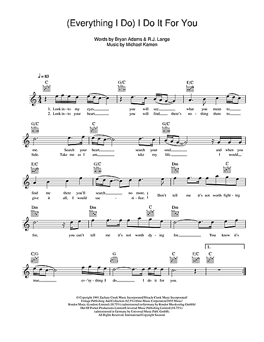 Bryan Adams Everything I Do I Do It For You Sheet Music Notes