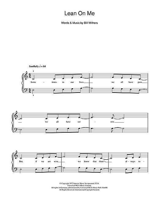 Glee Cast Lean On Me Sheet Music Notes Chords Printable Soul 5