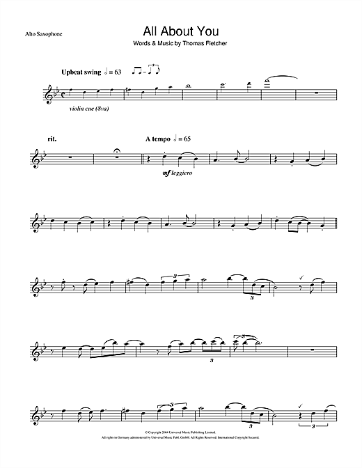 Mcfly All About You Sheet Music Notes Chords Printable Pop Alto