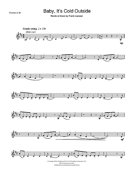 Tom Jones Cerys Matthews Baby Its Cold Outside Sheet Music Notes Chords Download Printable Clarinet Sku 105943