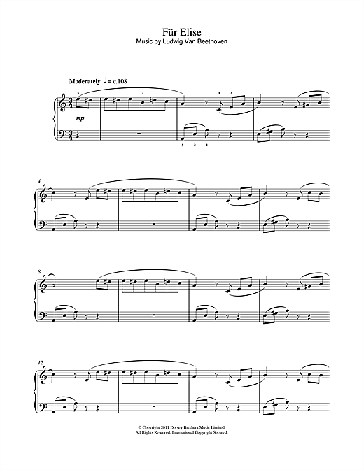 Ludwig Van Beethoven Fr Elise Sheet Music Notes Chords
