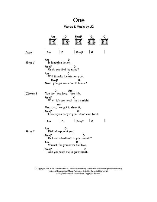 U2 One Sheet Music Notes Chords Printable Rock Lyrics Chords