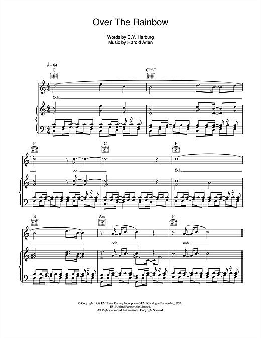 Glee Cast Over The Rainbow Sheet Music Notes Chords Printable