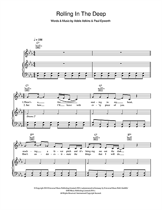 Adele Rolling In The Deep Sheet Music Notes Chords Printable