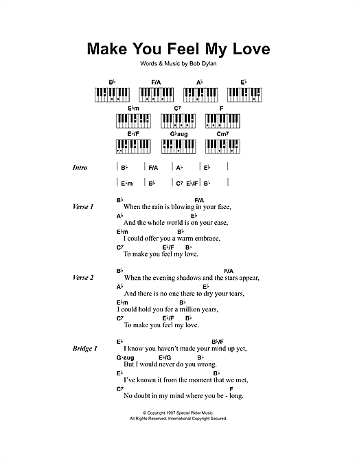 Adele Make You Feel My Love Sheet Music Notes Chords Printable