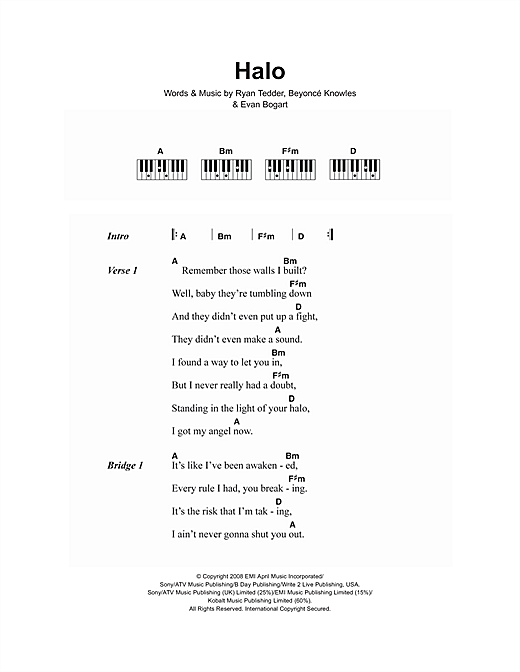 Beyonc Halo Sheet Music Notes Chords Printable R B Lyrics