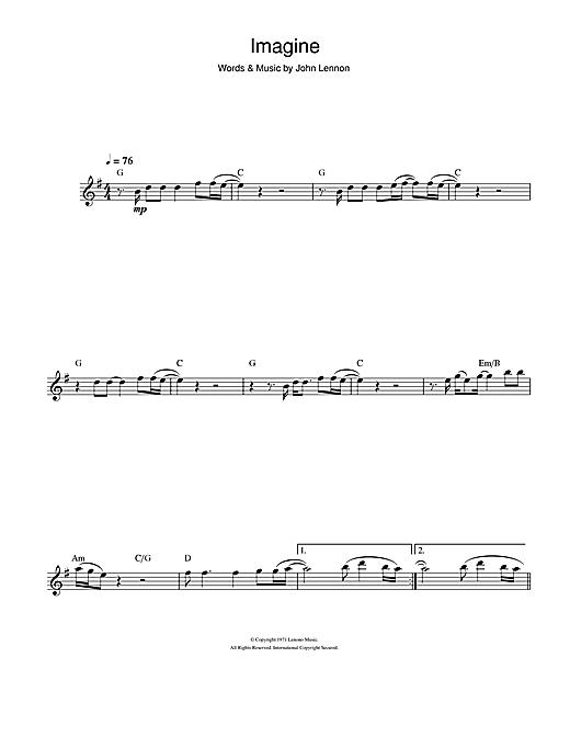 John Lennon Imagine Sheet Music Notes Chords Printable Rock
