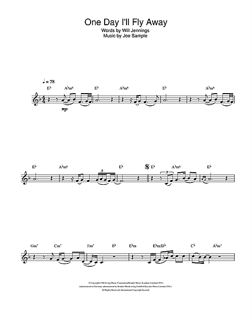 Randy Crawford One Day Ill Fly Away Sheet Music Notes Chords