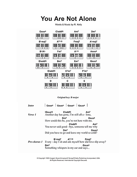 Michael Jackson You Are Not Alone Sheet Music Notes Chords