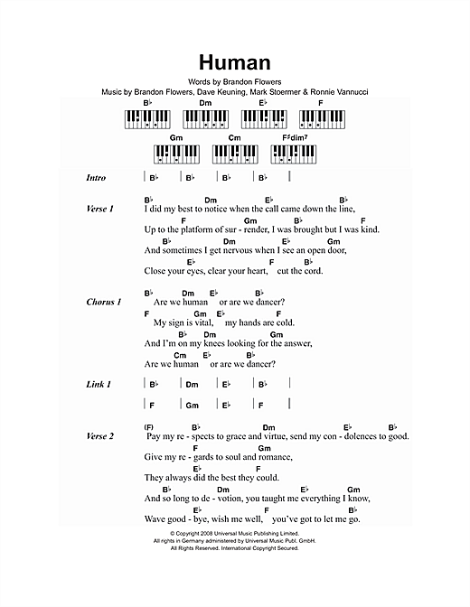 The Killers Human Sheet Music Notes Chords Printable Rock