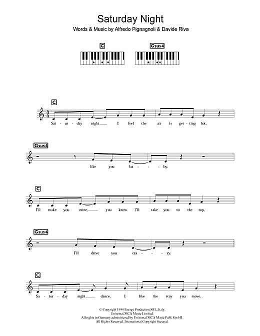Whigfield 'Saturday Night' Sheet Music Notes, Chords | Download Printable  Keyboard - SKU: 107600