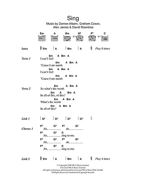 Blur Sing Sheet Music Notes Chords Printable Rock Lyrics