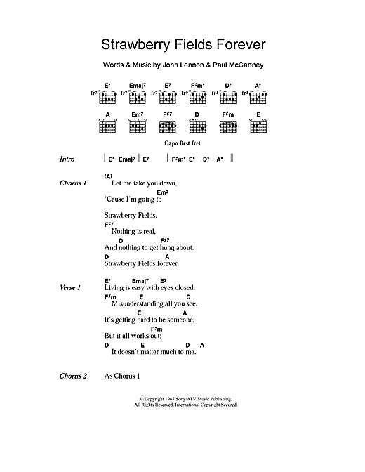 The Beatles Strawberry Fields Forever Sheet Music Notes Chords