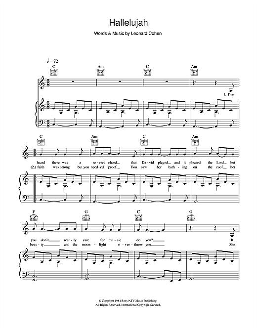 Rufus Wainwright Hallelujah Sheet Music Notes Chords Printable