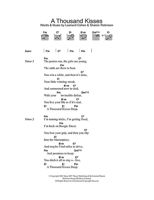 Leonard Cohen A Thousand Kisses Deep Sheet Music Notes Chords