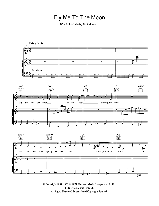 Frank Sinatra Fly Me To The Moon In Other Words Sheet Music