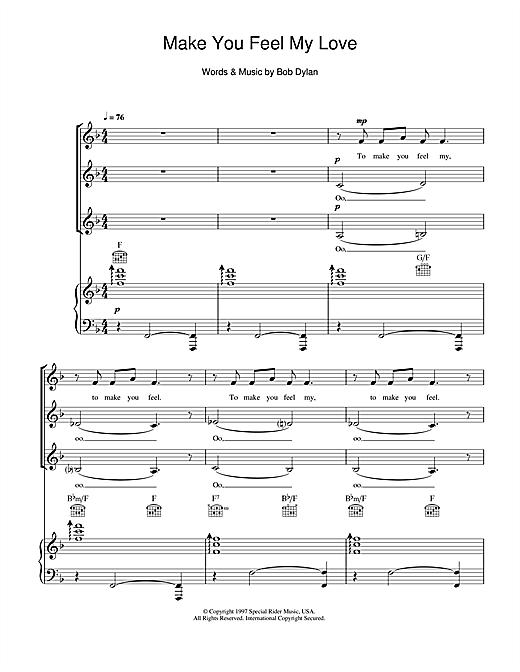 Bob Dylan Make You Feel My Love Arr Jeremy Birchall Sheet Music