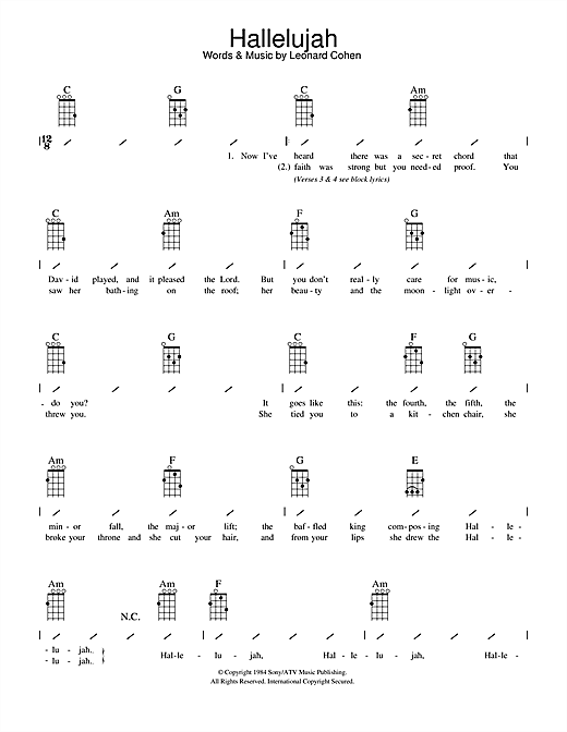 Leonard Cohen Hallelujah Sheet Music Notes Chords Printable Pop