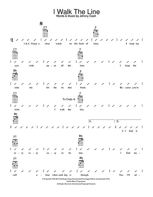 Johnny Cash I Walk The Line Sheet Music Notes Chords Printable