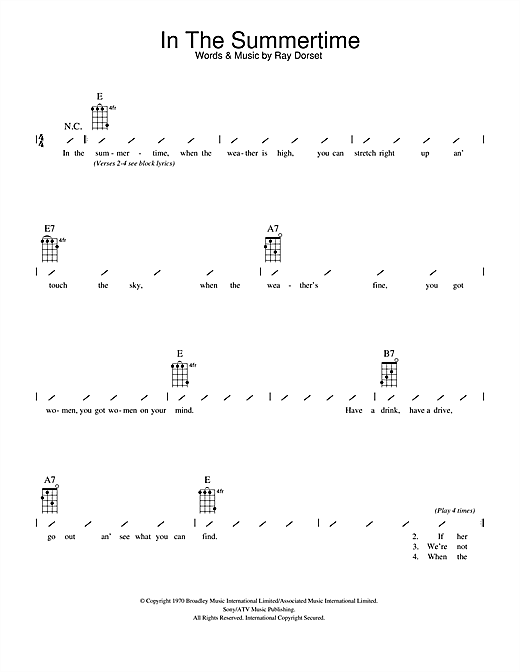 Mungo Jerry In The Summertime Sheet Music Notes Chords