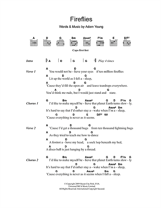 Owl City Fireflies Sheet Music Notes Chords Printable Pop