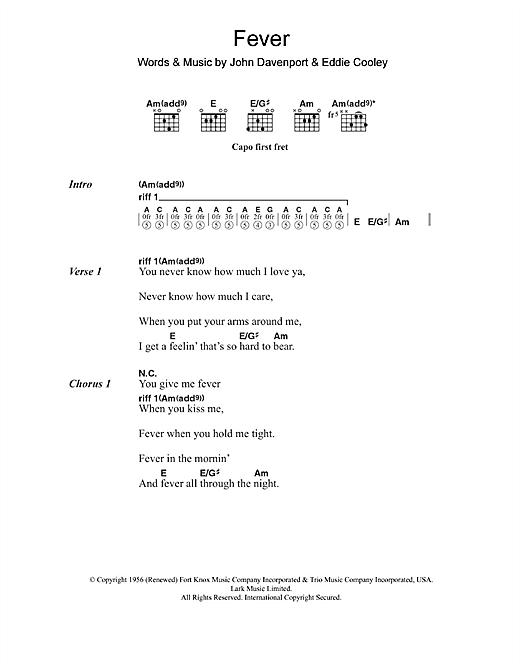 Little Willie John Fever Sheet Music Notes Chords Printable