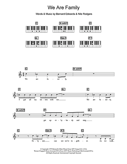 Sister Sledge We Are Family Sheet Music Notes Chords Printable