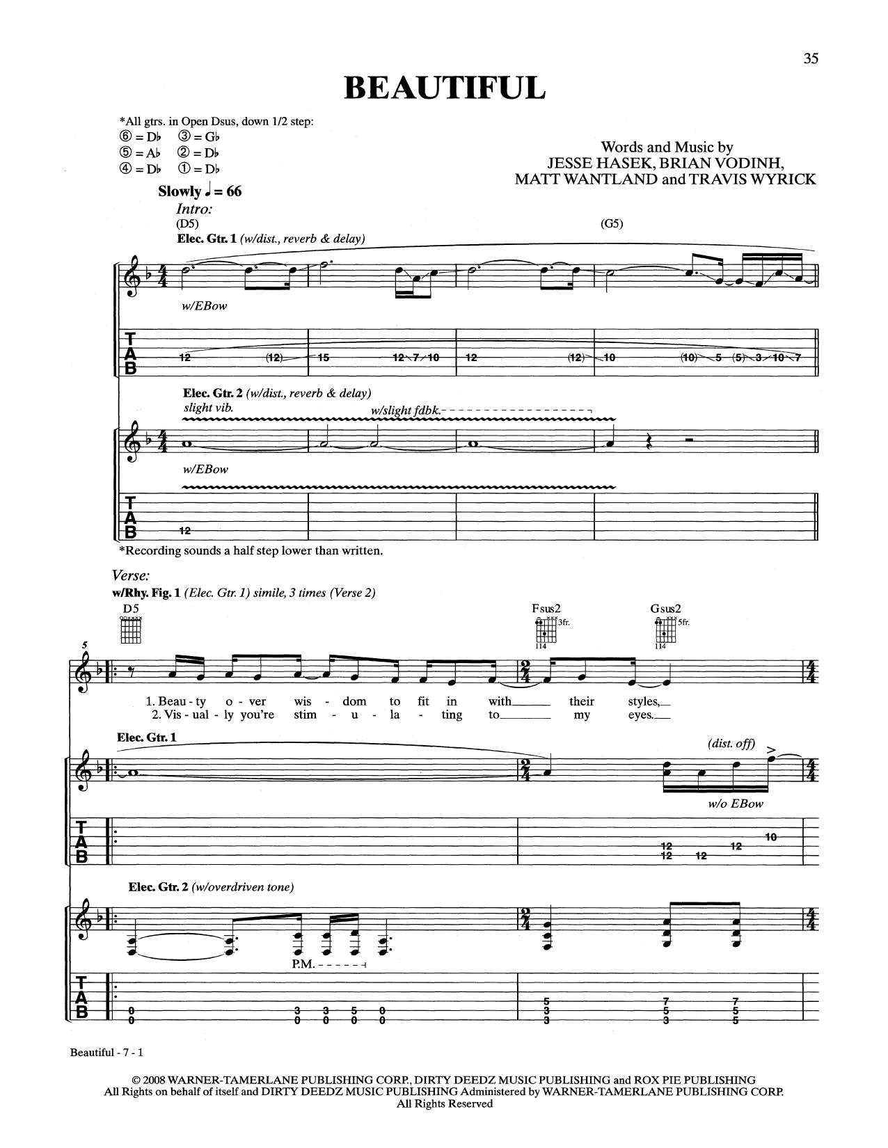 10 Years Beautiful sheet music notes and chords. Download Printable PDF.