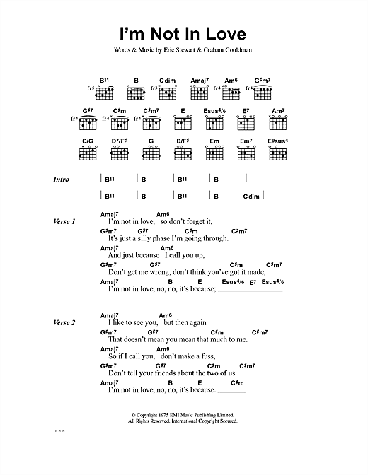 10Cc I'm Not In Love sheet music notes and chords