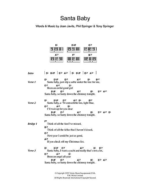 Eartha Kitt Santa Baby Sheet Music Notes Chords Printable Soul