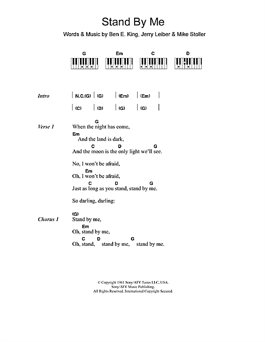 Ben E King Stand By Me Sheet Music Notes Chords Printable Soul