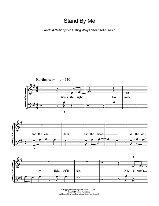 King stand by me sheet music (intermediate) for guitar solo.