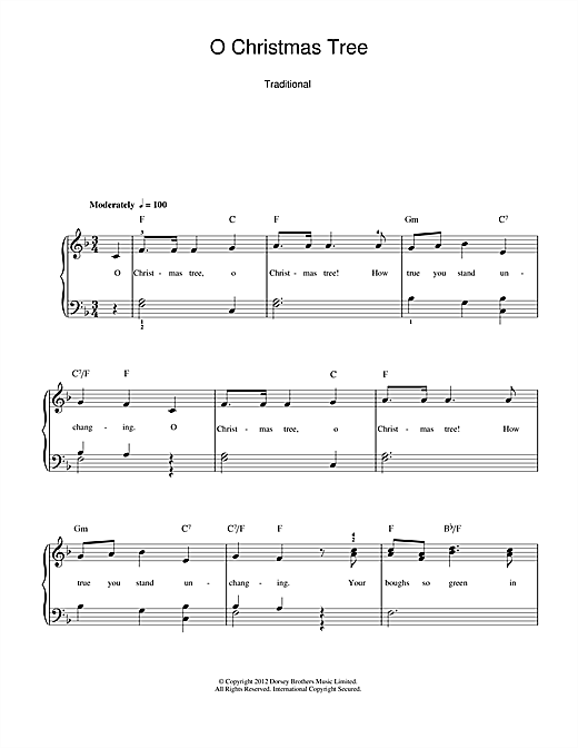 Christmas Carol O Christmas Tree Sheet Music Notes Chords