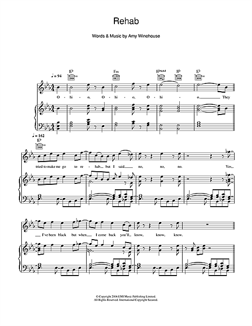 Glee Cast Rehab Sheet Music Notes Chords Printable Rock Piano