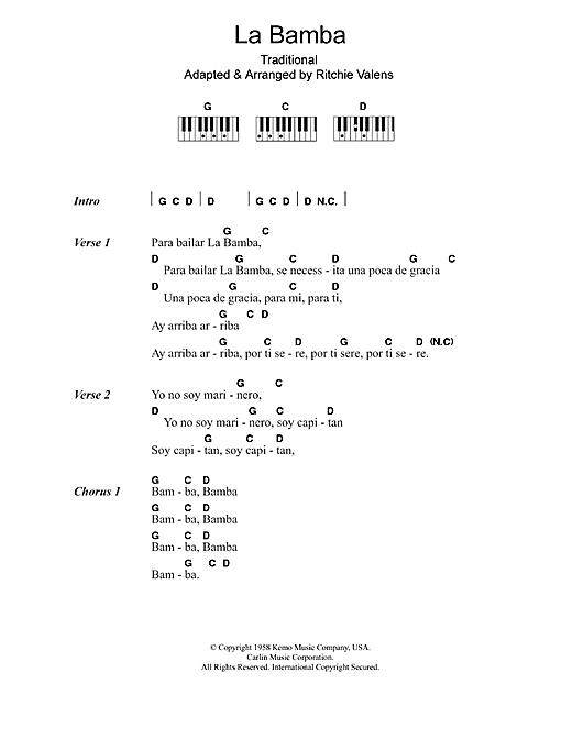 Los Lobos La Bamba Sheet Music Notes Chords Printable Pop